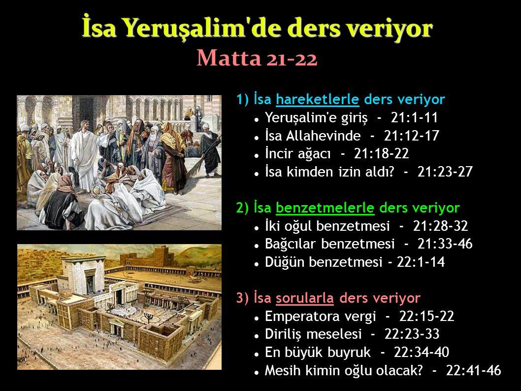 1) İsa hareketlerle ders veriyor Yeruşalim'e giriş - 21:1-11 İsa Allahevinde - 21:12-17 İncir ağacı - 21:18-22 İsa kimden izin aldı? - 21:23-27 2) İsa