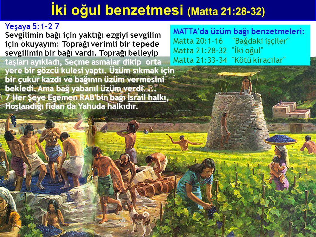 İki oğul benzetmesi (Matta 21:28-32) MATTA da üzüm bağı benzetmeleri: Matta 20:1-16 Bağdaki işçiler Matta 21:28-32 İki oğul Matta 21:33-34 Kötü kiracılar Yeşaya 5:1-2 7 taşları ayıkladı, Seçme asmalar dikip orta yere bir gözcü kulesi yaptı.