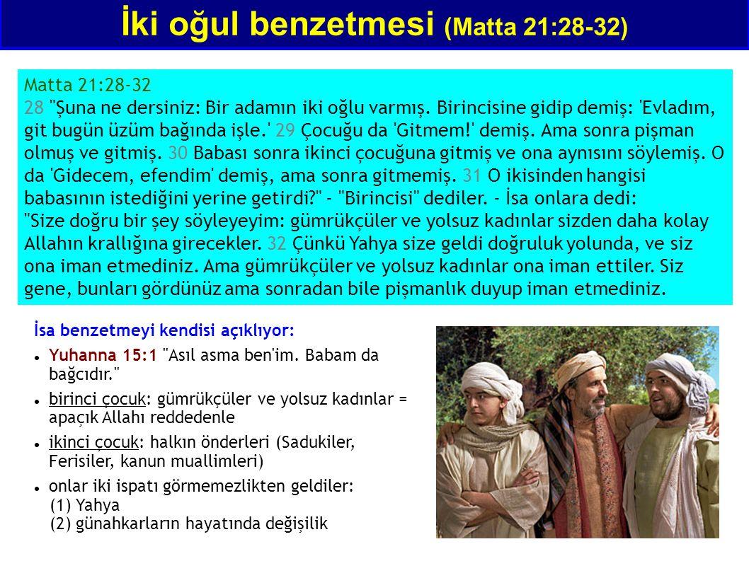 İki oğul benzetmesi (Matta 21:28-32) Matta 21:28-32 28