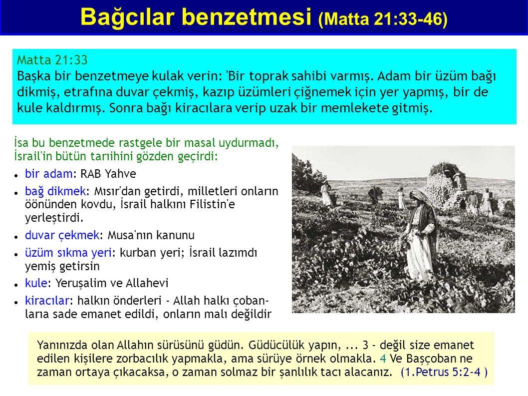 Bağcılar benzetmesi (Matta 21:33-46) Matta 21:33 Başka bir benzetmeye kulak verin: 'Bir toprak sahibi varmış. Adam bir üzüm bağı dikmiş, etrafına duva