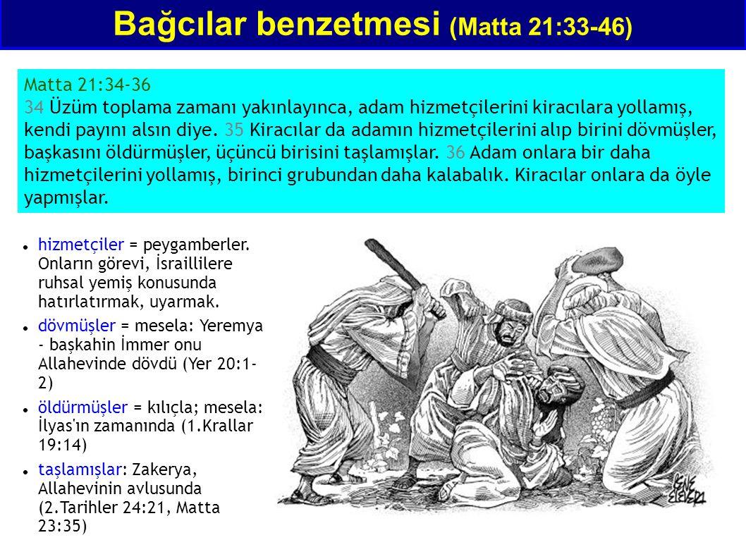 Bağcılar benzetmesi (Matta 21:33-46) Matta 21:34-36 34 Üzüm toplama zamanı yakınlayınca, adam hizmetçilerini kiracılara yollamış, kendi payını alsın d