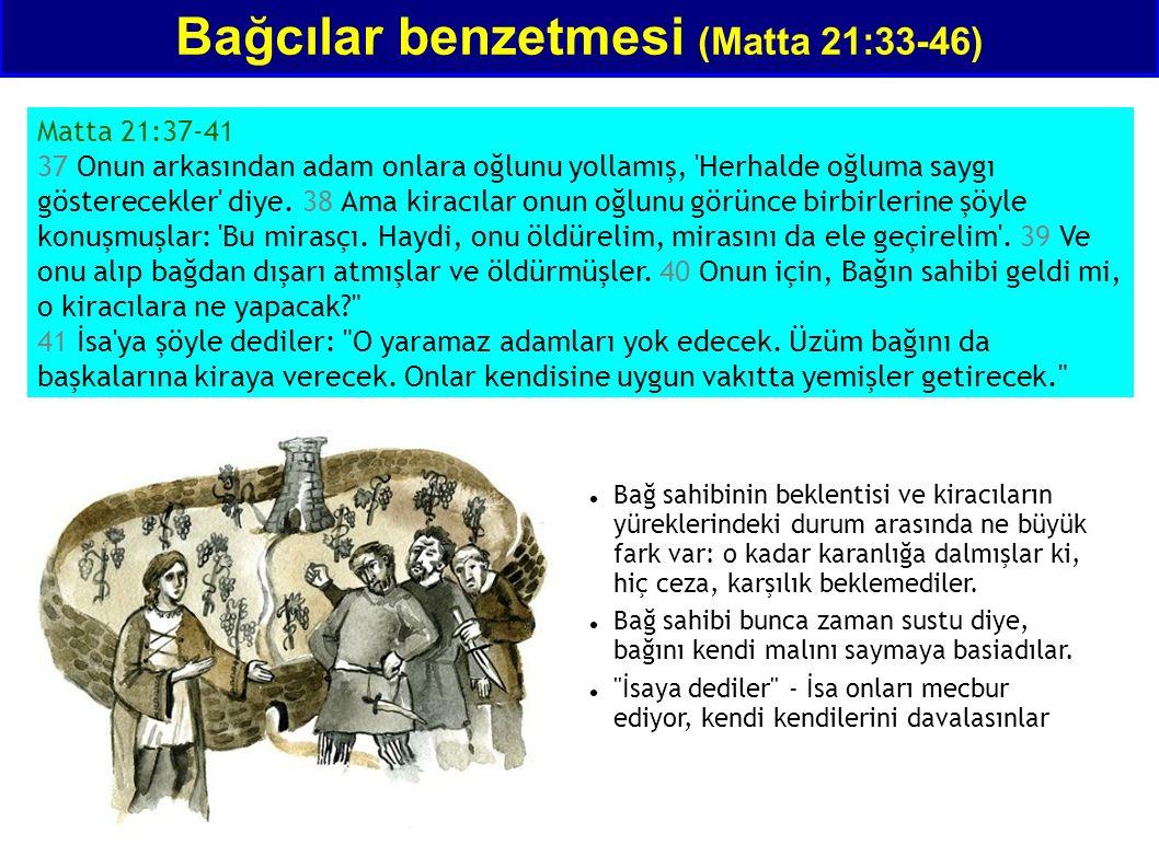 Bağcılar benzetmesi (Matta 21:33-46) Matta 21:37-41 37 Onun arkasından adam onlara oğlunu yollamış, 'Herhalde oğluma saygı gösterecekler' diye. 38 Ama