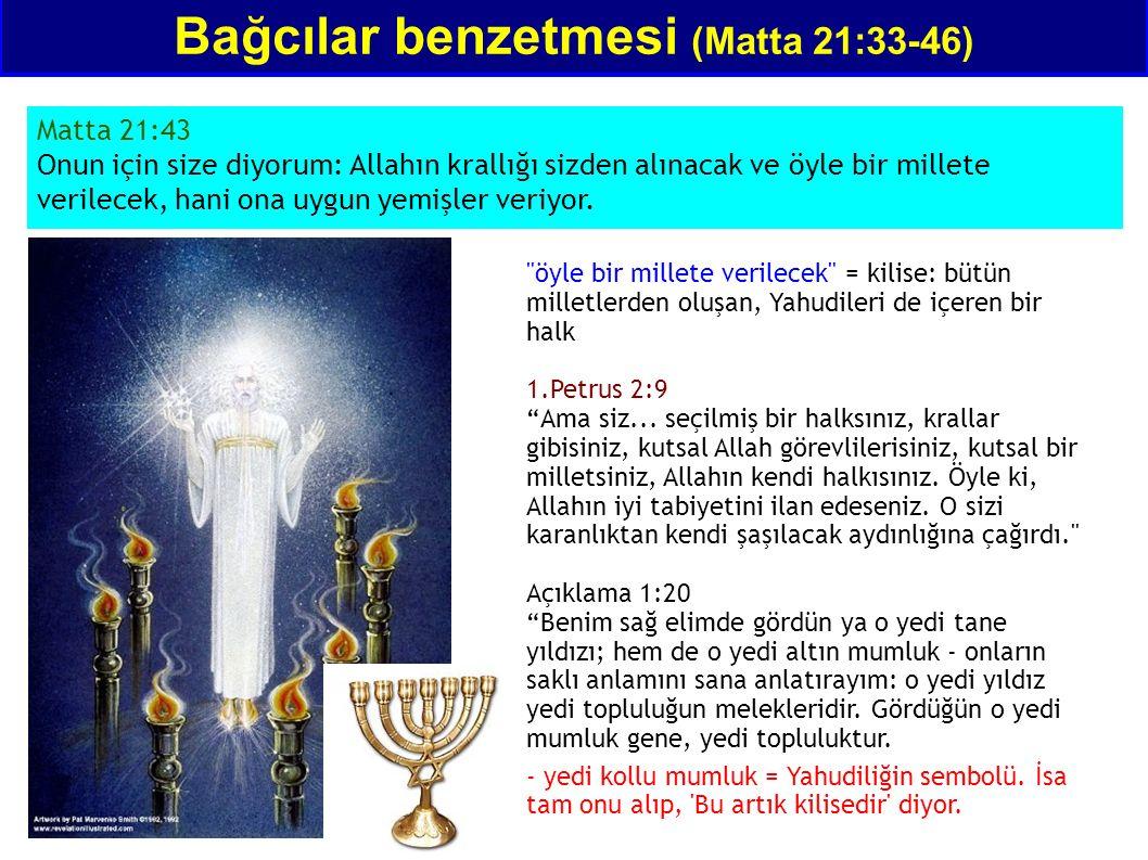 Bağcılar benzetmesi (Matta 21:33-46) Matta 21:43 Onun için size diyorum: Allahın krallığı sizden alınacak ve öyle bir millete verilecek, hani ona uygu