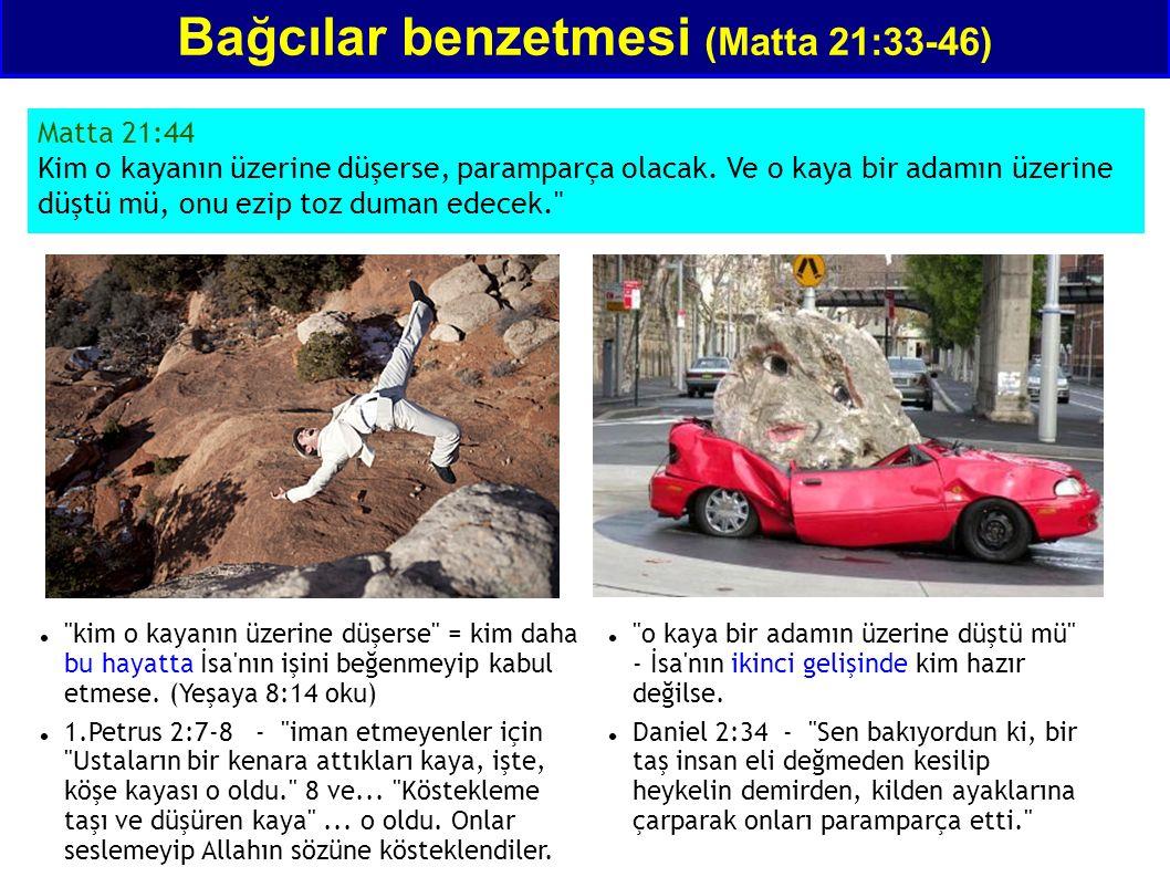 Bağcılar benzetmesi (Matta 21:33-46) Matta 21:44 Kim o kayanın üzerine düşerse, paramparça olacak. Ve o kaya bir adamın üzerine düştü mü, onu ezip toz