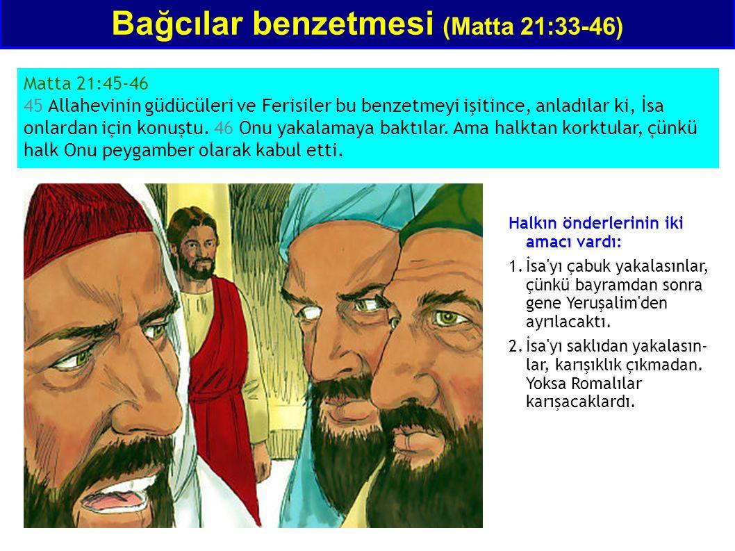 Bağcılar benzetmesi (Matta 21:33-46) Matta 21:45-46 45 Allahevinin güdücüleri ve Ferisiler bu benzetmeyi işitince, anladılar ki, İsa onlardan için kon
