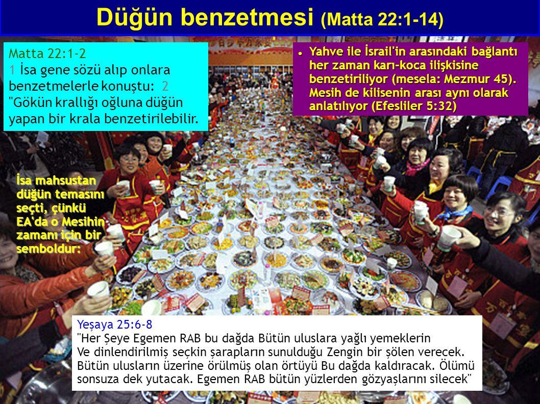 Düğün benzetmesi (Matta 22:1-14) Matta 22:1-2 1 İsa gene sözü alıp onlara benzetmelerle konuştu: 2