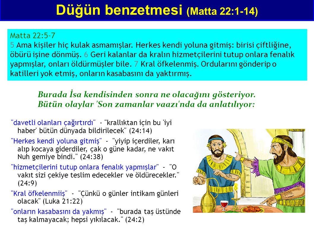 Matta 22:5-7 5 Ama kişiler hiç kulak asmamışlar. Herkes kendi yoluna gitmiş: birisi çiftliğine, öbürü işine dönmüş. 6 Geri kalanlar da kralın hizmetçi