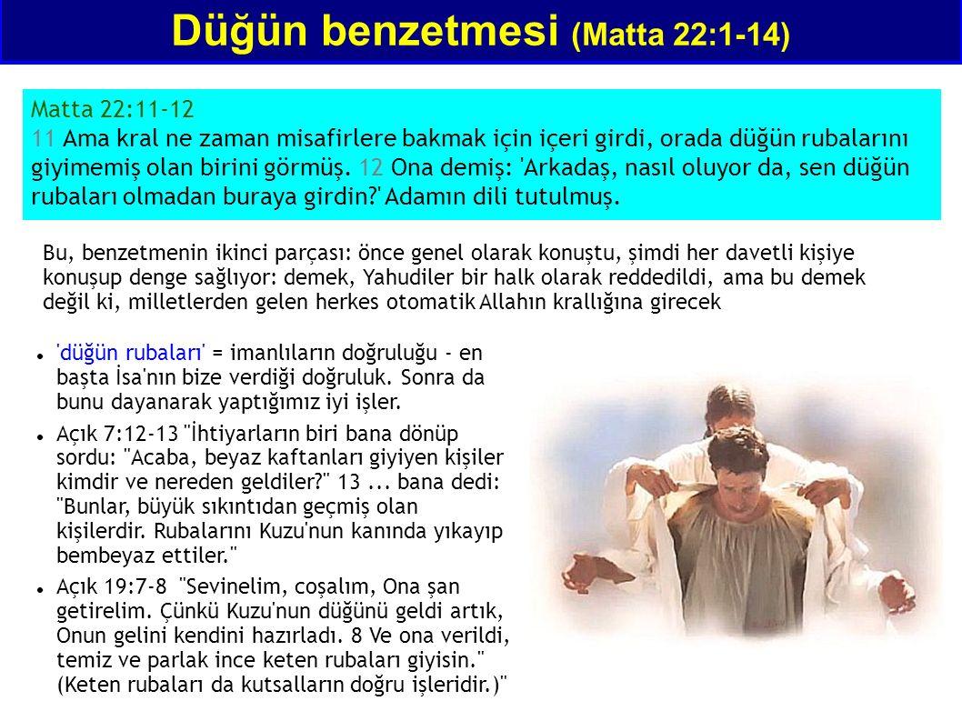 Matta 22:11-12 11 Ama kral ne zaman misafirlere bakmak için içeri girdi, orada düğün rubalarını giyimemiş olan birini görmüş. 12 Ona demiş: 'Arkadaş,