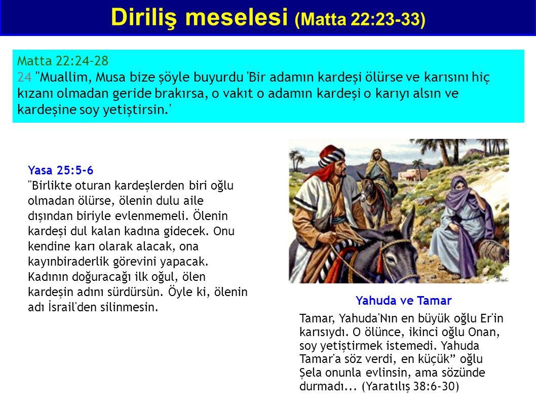 Diriliş meselesi (Matta 22:23-33) Matta 22:24-28 24 Muallim, Musa bize şöyle buyurdu Bir adamın kardeşi ölürse ve karısını hiç kızanı olmadan geride brakırsa, o vakıt o adamın kardeşi o karıyı alsın ve kardeşine soy yetiştirsin. Yasa 25:5-6 Birlikte oturan kardeşlerden biri oğlu olmadan ölürse, ölenin dulu aile dışından biriyle evlenmemeli.