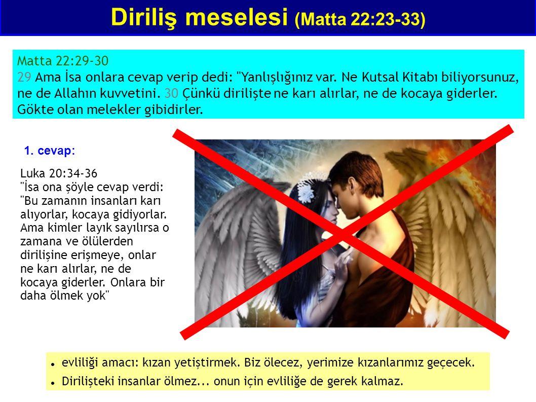 Diriliş meselesi (Matta 22:23-33) Matta 22:29-30 29 Ama İsa onlara cevap verip dedi: Yanlışlığınız var.
