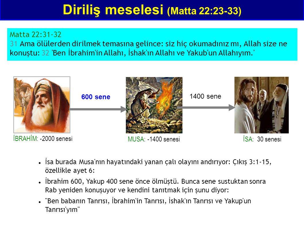 Diriliş meselesi (Matta 22:23-33) Matta 22:31-32 31 Ama ölülerden dirilmek temasına gelince: siz hiç okumadınız mı, Allah size ne konuştu: 32 'Ben İbr