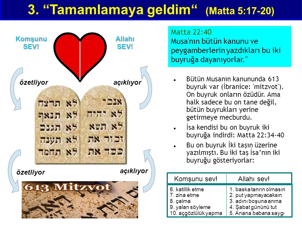 """3. """"Tamamlamaya geldim"""" (Matta 5:17-20) Komşunu SEV! Allahı SEV! özetliyor Bütün Musanın kanununda 613 buyruk var (İbranice: 'mitzvot'). On buyruk onl"""