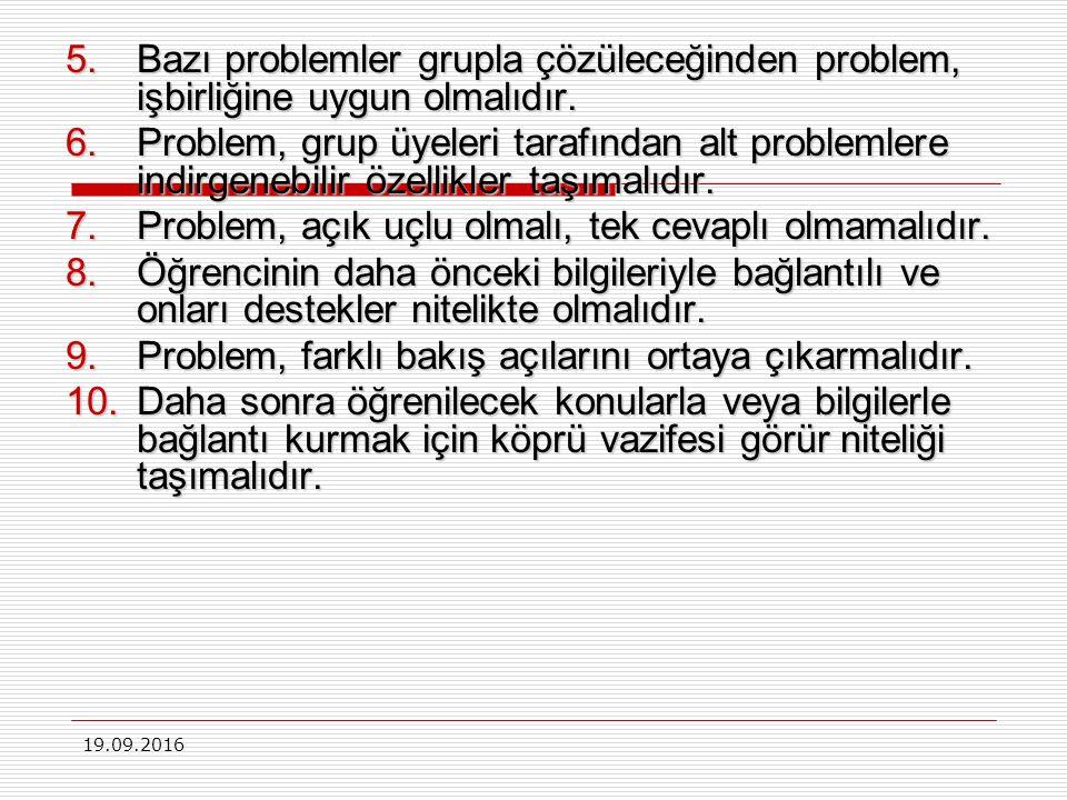 19.09.2016 PDÖ stratejisinin uygulama açısından, uygulamada stratejik olarak kullanılacak olan problemin kalitesi önemlidir.