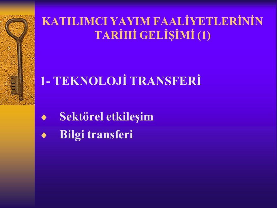 KATILIMCI YAYIM FAALİYETLERİNİN TARİHİ GELİŞİMİ (1) 1- TEKNOLOJİ TRANSFERİ  Sektörel etkileşim  Bilgi transferi