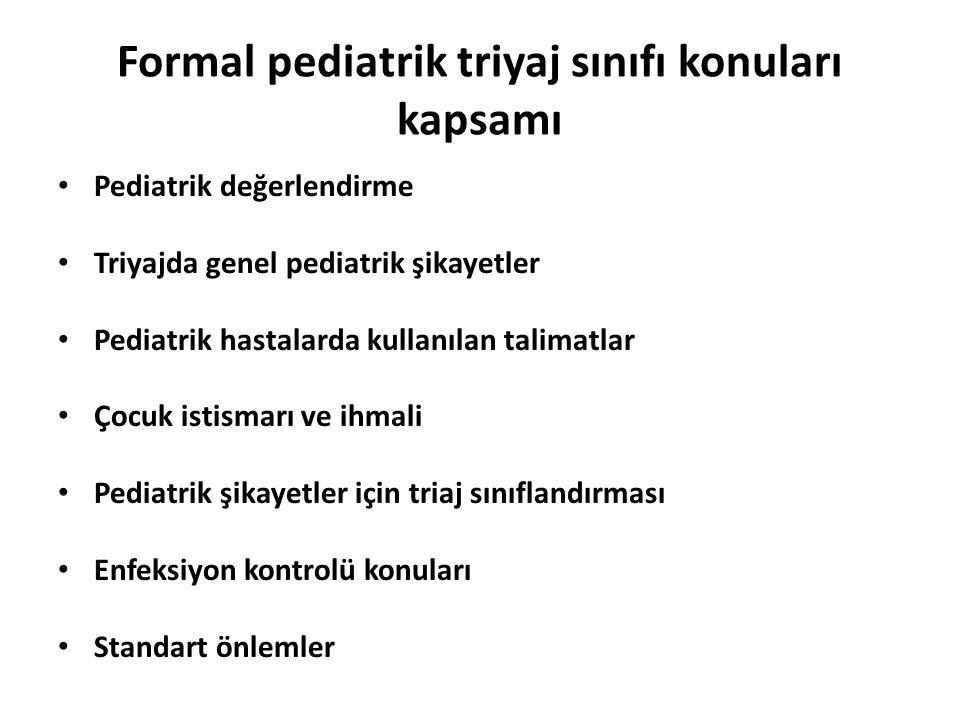Formal pediatrik triyaj sınıfı konuları kapsamı Pediatrik değerlendirme Triyajda genel pediatrik şikayetler Pediatrik hastalarda kullanılan talimatlar