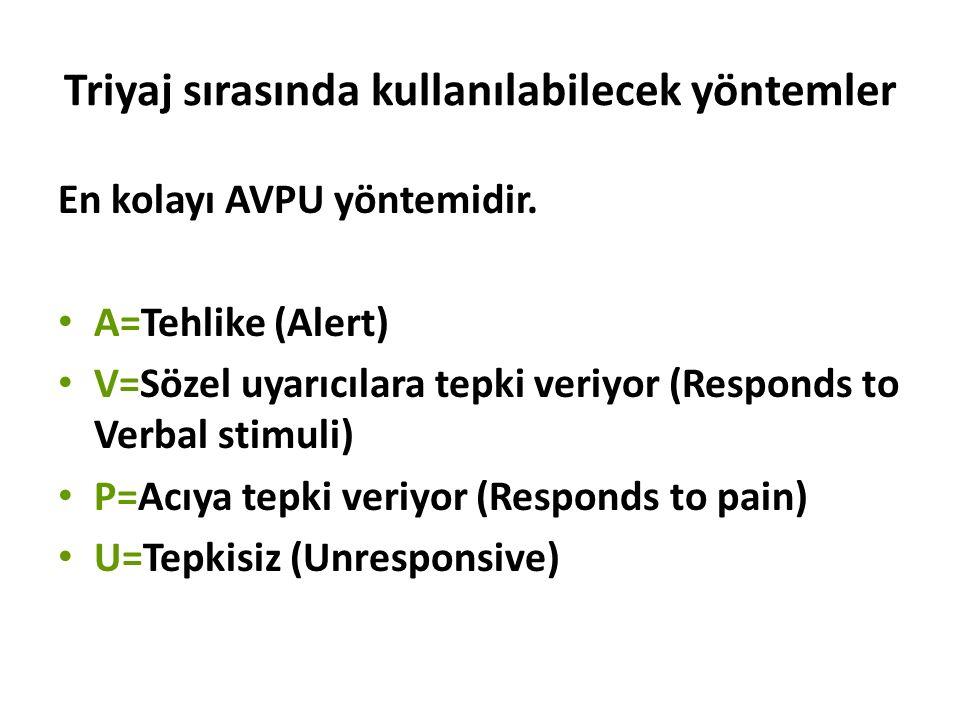 Triyaj sırasında kullanılabilecek yöntemler En kolayı AVPU yöntemidir. A=Tehlike (Alert) V=Sözel uyarıcılara tepki veriyor (Responds to Verbal stimuli