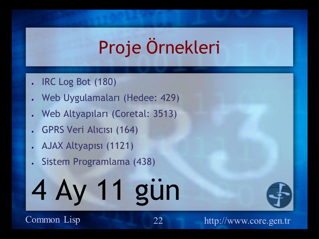 Common Lisp http://www.core.gen.tr 22 Proje Örnekleri ● IRC Log Bot (180) ● Web Uygulamaları (Hedee: 429) ● Web Altyapıları (Coretal: 3513) ● GPRS Veri Alıcısı (164) ● AJAX Altyapısı (1121) ● Sistem Programlama (438) 4 Ay 11 gün