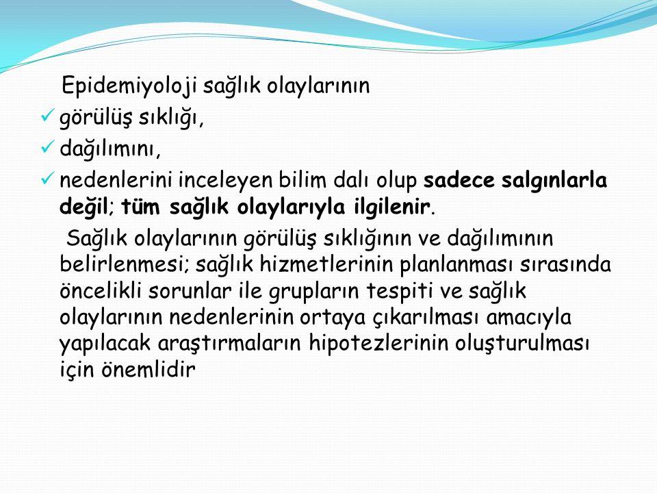Kaynaklar… http://sbu.saglik.gov.tr/Ekutuphane/kitaplar/epidemiy oloji.pdf http://sbu.saglik.gov.tr/Ekutuphane/kitaplar/epidemiy oloji.pdf http://www.ctf.istanbul.edu.tr/stek/pdfs/60/6004.pd f http://www.ctf.istanbul.edu.tr/stek/pdfs/60/6004.pd f http://www.ttb.org.tr/STED/sted0802/enfeksiyon.pd f http://www.ttb.org.tr/STED/sted0802/enfeksiyon.pd f http://www.acilveilkyardim.com/acilbakim/bulasicihast aliklar.htm#Bildirimi%20Zorunlu%20Hastal%C4%B1kl ar http://www.acilveilkyardim.com/acilbakim/bulasicihast aliklar.htm#Bildirimi%20Zorunlu%20Hastal%C4%B1kl ar http://www.tkhk.gov.tr/Dosyalar/d7fdcde13eca42a78 d4b65bfd30ef590.pdf http://www.tkhk.gov.tr/Dosyalar/d7fdcde13eca42a78 d4b65bfd30ef590.pdf EPİDEMİYOLOJİ/ Tıbbi Araştırmaların Yöntem Bilimi/ Prof.Dr.Sabahat TEZCAN