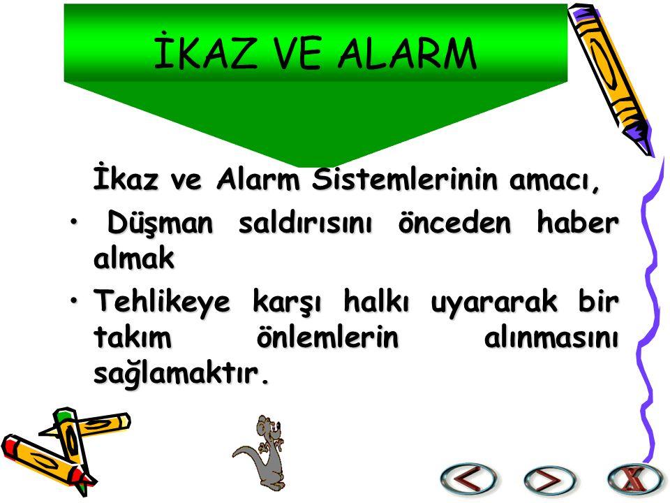 İKAZ VE ALARM İkaz ve Alarm Sistemlerinin amacı, Düşman saldırısını önceden haber almak Düşman saldırısını önceden haber almak Tehlikeye karşı halkı u