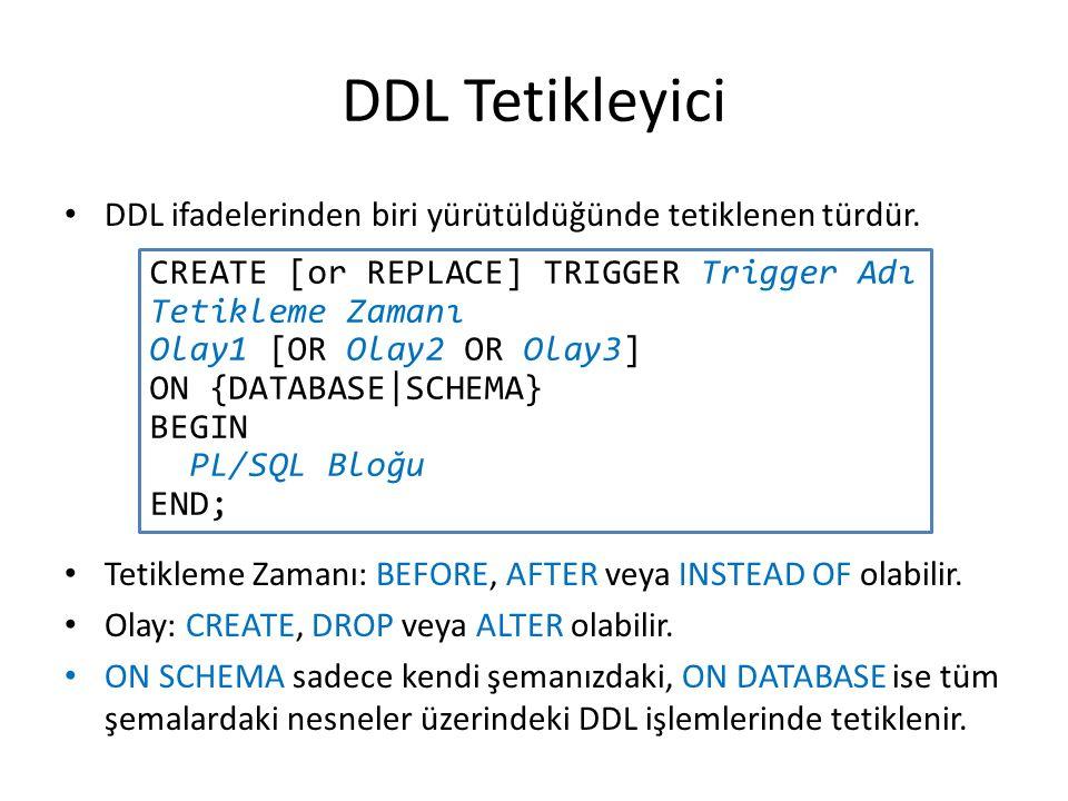 DDL Tetikleyici DDL ifadelerinden biri yürütüldüğünde tetiklenen türdür.