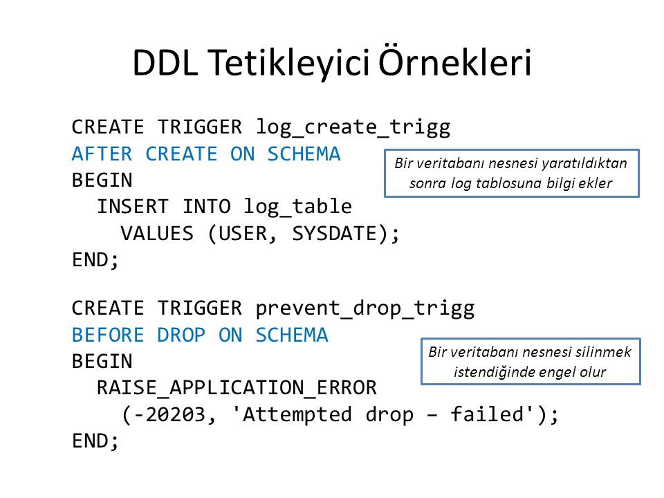 DDL Tetikleyici Örnekleri CREATE TRIGGER log_create_trigg AFTER CREATE ON SCHEMA BEGIN INSERT INTO log_table VALUES (USER, SYSDATE); END; CREATE TRIGGER prevent_drop_trigg BEFORE DROP ON SCHEMA BEGIN RAISE_APPLICATION_ERROR (-20203, Attempted drop – failed ); END; Bir veritabanı nesnesi yaratıldıktan sonra log tablosuna bilgi ekler Bir veritabanı nesnesi silinmek istendiğinde engel olur