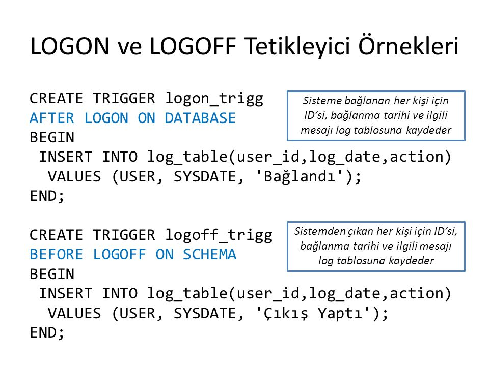 LOGON ve LOGOFF Tetikleyici Örnekleri CREATE TRIGGER logon_trigg AFTER LOGON ON DATABASE BEGIN INSERT INTO log_table(user_id,log_date,action) VALUES (USER, SYSDATE, Bağlandı ); END; CREATE TRIGGER logoff_trigg BEFORE LOGOFF ON SCHEMA BEGIN INSERT INTO log_table(user_id,log_date,action) VALUES (USER, SYSDATE, Çıkış Yaptı ); END; Sisteme bağlanan her kişi için ID'si, bağlanma tarihi ve ilgili mesajı log tablosuna kaydeder Sistemden çıkan her kişi için ID'si, bağlanma tarihi ve ilgili mesajı log tablosuna kaydeder