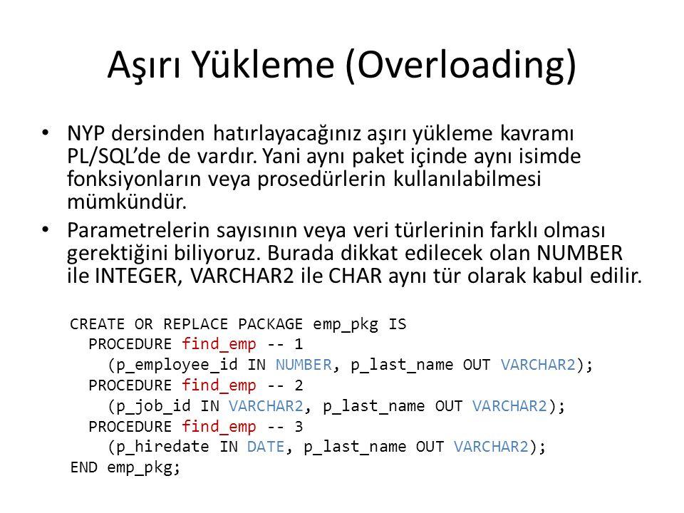 Aşırı Yükleme (Overloading) NYP dersinden hatırlayacağınız aşırı yükleme kavramı PL/SQL'de de vardır.