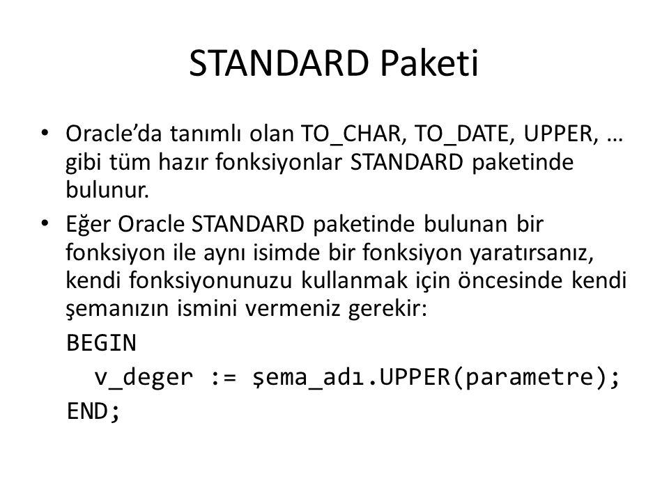 STANDARD Paketi Oracle'da tanımlı olan TO_CHAR, TO_DATE, UPPER, … gibi tüm hazır fonksiyonlar STANDARD paketinde bulunur.