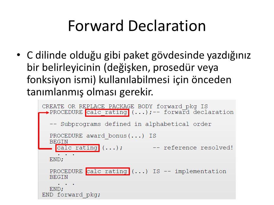 Forward Declaration C dilinde olduğu gibi paket gövdesinde yazdığınız bir belirleyicinin (değişken, prosedür veya fonksiyon ismi) kullanılabilmesi için önceden tanımlanmış olması gerekir.