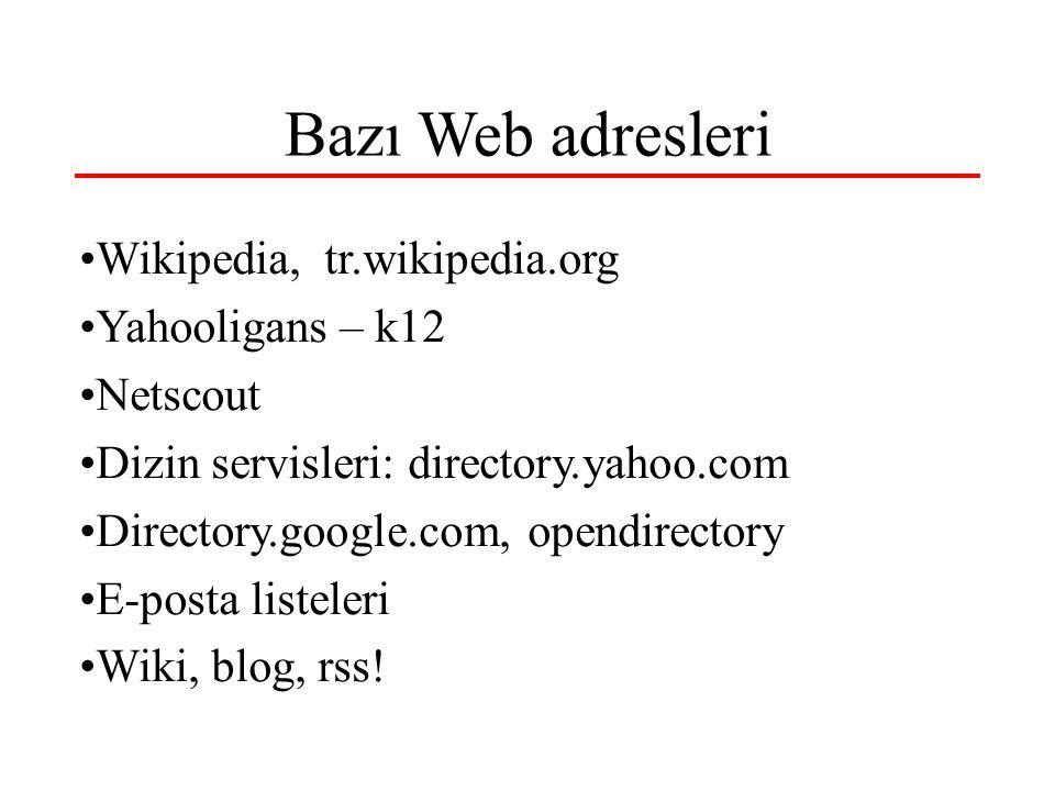 Bazı Web adresleri Wikipedia, tr.wikipedia.org Yahooligans – k12 Netscout Dizin servisleri: directory.yahoo.com Directory.google.com, opendirectory E-posta listeleri Wiki, blog, rss!