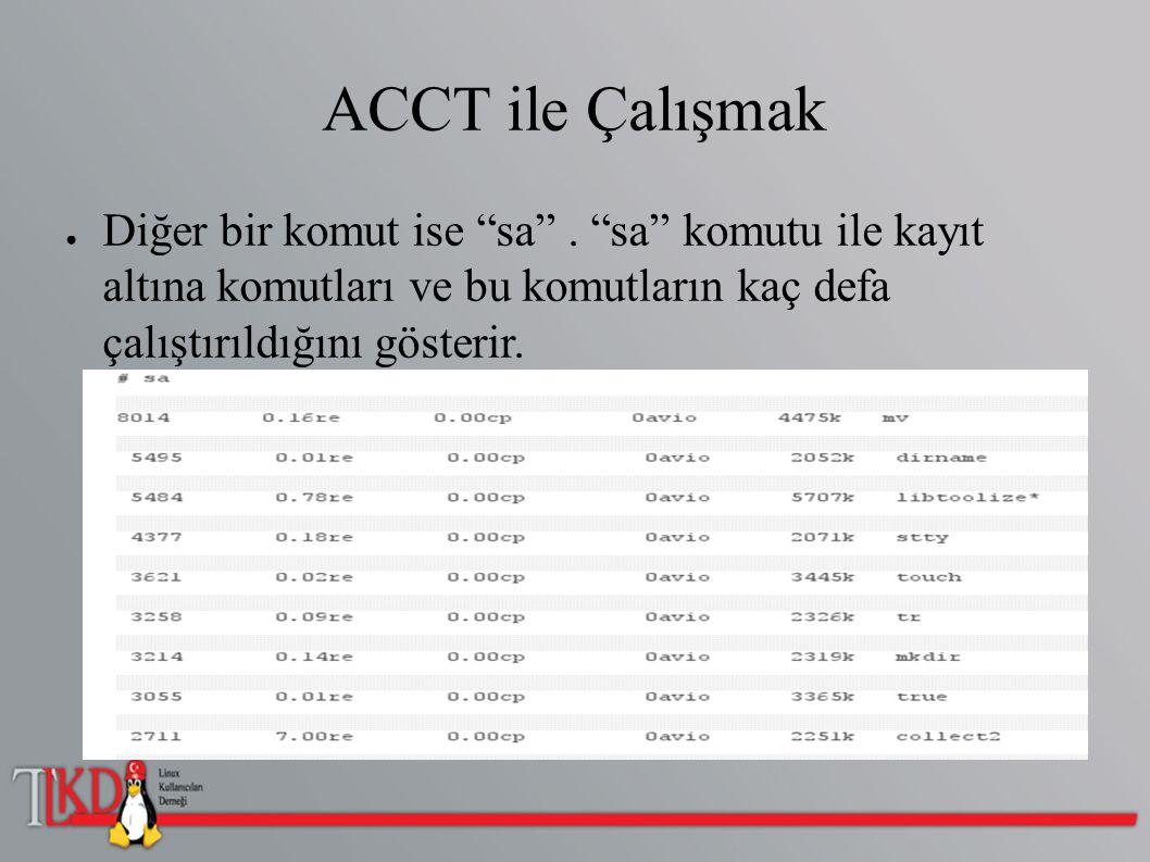 """ACCT ile Çalışmak ● Diğer bir komut ise """"sa"""". """"sa"""" komutu ile kayıt altına komutları ve bu komutların kaç defa çalıştırıldığını gösterir."""