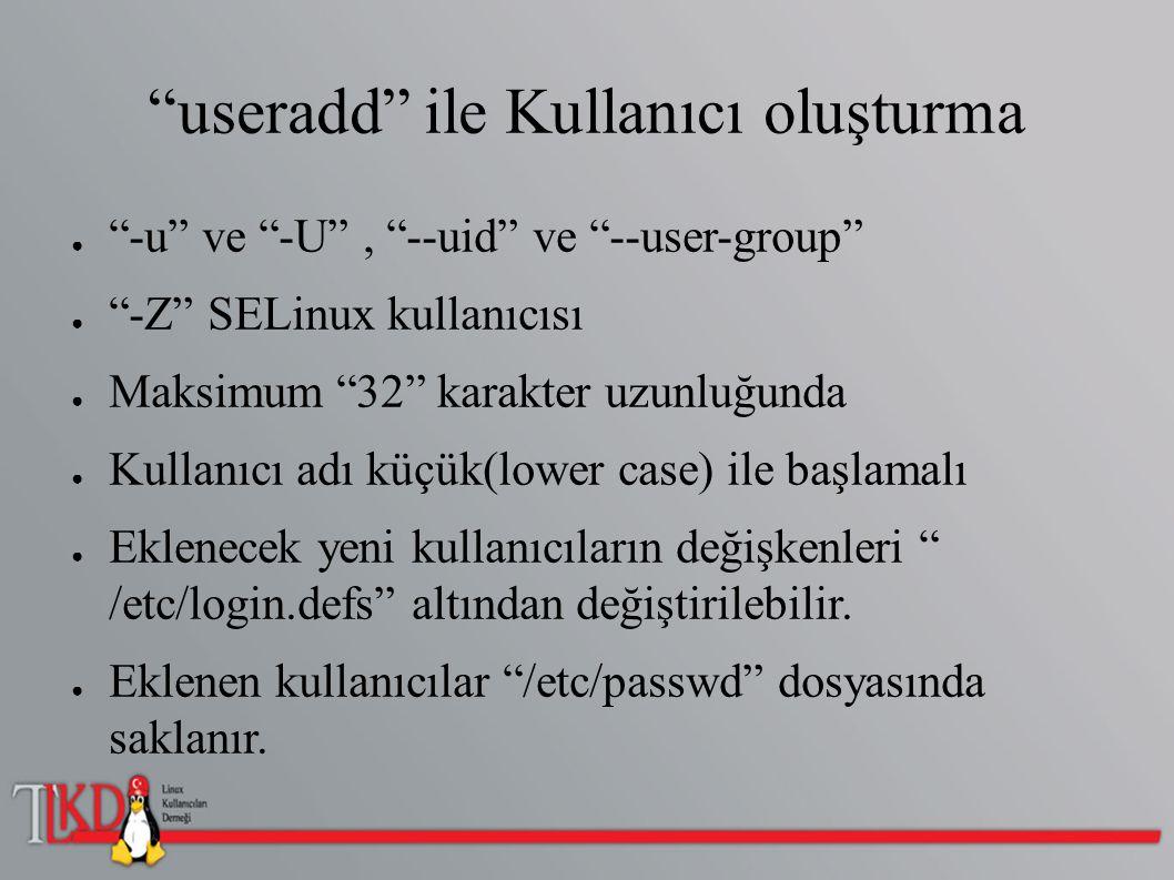 """""""useradd"""" ile Kullanıcı oluşturma ● """"-u"""" ve """"-U"""", """"--uid"""" ve """"--user-group"""" ● """"-Z"""" SELinux kullanıcısı ● Maksimum """"32"""" karakter uzunluğunda ● Kullanıc"""