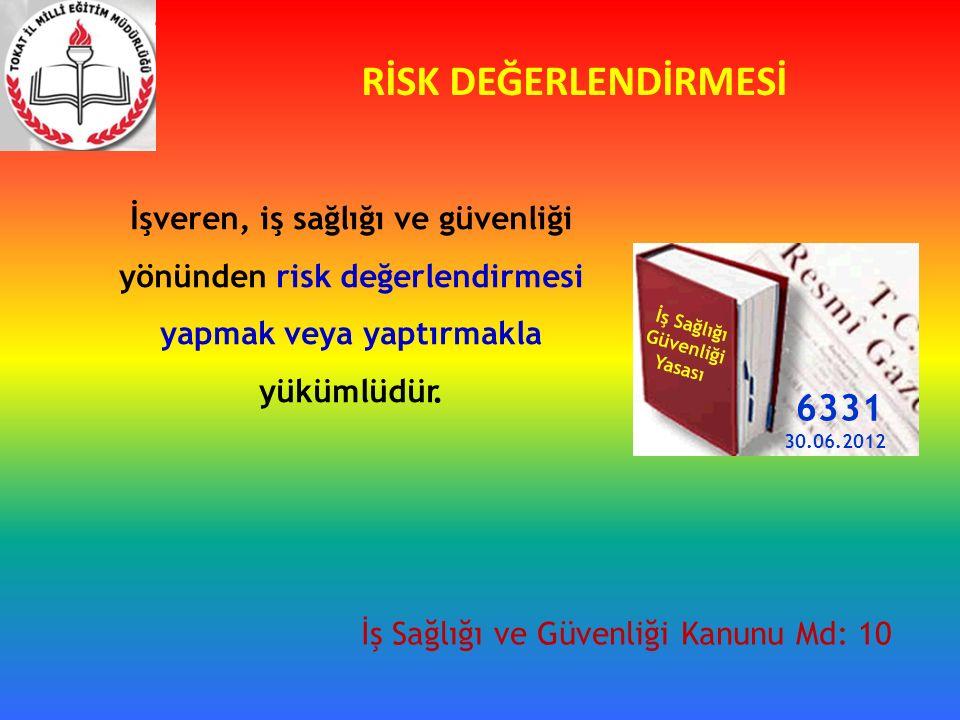 RİSK DEĞERLENDİRMESİ İşveren, iş sağlığı ve güvenliği yönünden risk değerlendirmesi yapmak veya yaptırmakla yükümlüdür.