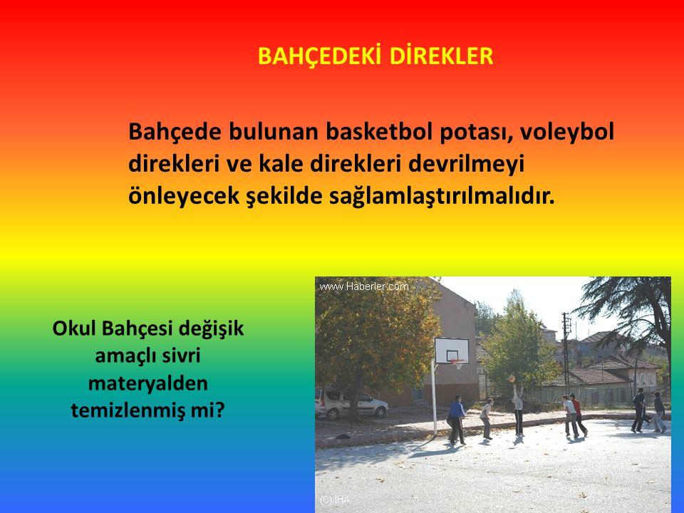 BAHÇEDEKİ DİREKLER Bahçede bulunan basketbol potası, voleybol direkleri ve kale direkleri devrilmeyi önleyecek şekilde sağlamlaştırılmalıdır. Okul Bah
