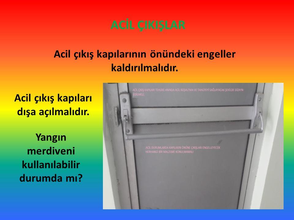 ACİL ÇIKIŞLAR Acil çıkış kapılarının önündeki engeller kaldırılmalıdır.