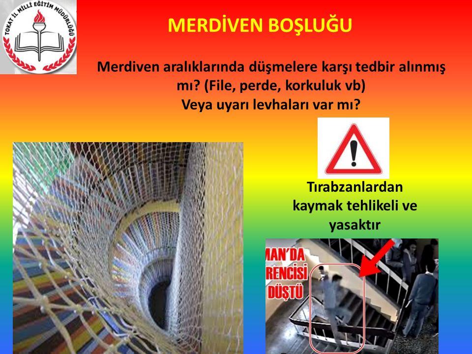 MERDİVEN BOŞLUĞU Merdiven aralıklarında düşmelere karşı tedbir alınmış mı? (File, perde, korkuluk vb) Veya uyarı levhaları var mı? Tırabzanlardan kaym