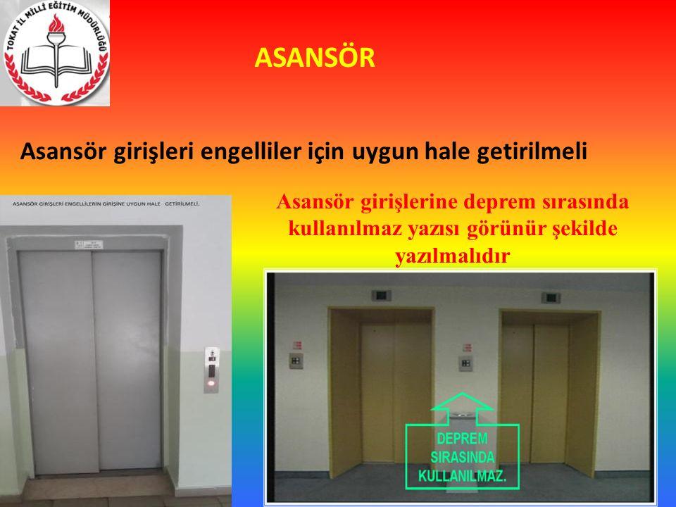 ASANSÖR Asansör girişleri engelliler için uygun hale getirilmeli Asansör girişlerine deprem sırasında kullanılmaz yazısı görünür şekilde yazılmalıdır