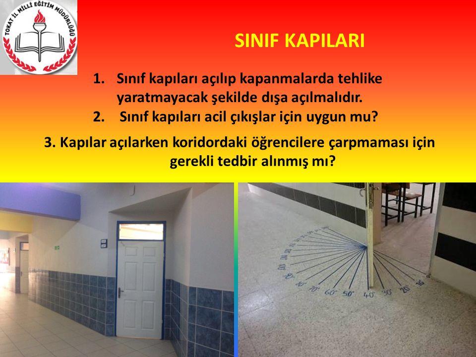 SINIF KAPILARI 1.Sınıf kapıları açılıp kapanmalarda tehlike yaratmayacak şekilde dışa açılmalıdır. 2.Sınıf kapıları acil çıkışlar için uygun mu? 3. Ka