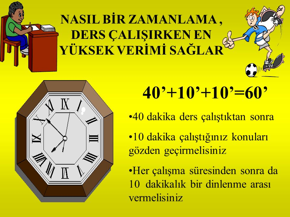 PROGRAM YAPILIRKEN ŞU İLKELERİ GÖZÖNÜNDE BULUNDURUNUZ Bir günde kaç saat çalışabileceğinizi belirleyin, Günün hangi saatlerinde çalışabileceğinizi belirleyin, Çalışmak için belirlediğiniz saatler, yorgun olmayacağınız ve çalışma dışında her şeye hayır diyebileceğiniz saatler olsun.
