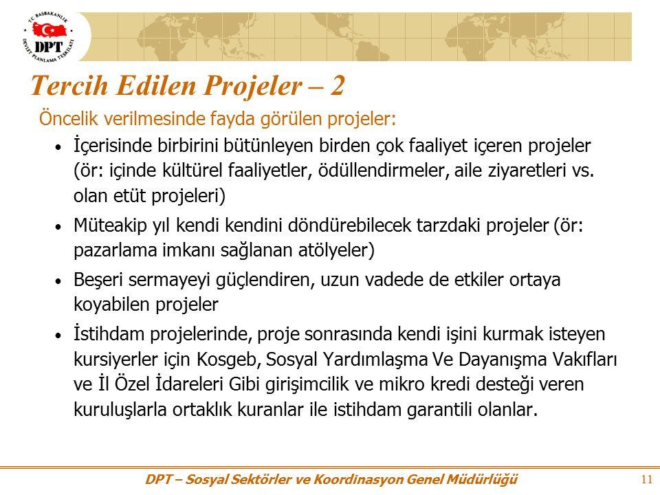 DPT – Sosyal Sektörler ve Koordinasyon Genel Müdürlüğü 11 Tercih Edilen Projeler – 2 Öncelik verilmesinde fayda görülen projeler: İçerisinde birbirini bütünleyen birden çok faaliyet içeren projeler (ör: içinde kültürel faaliyetler, ödüllendirmeler, aile ziyaretleri vs.