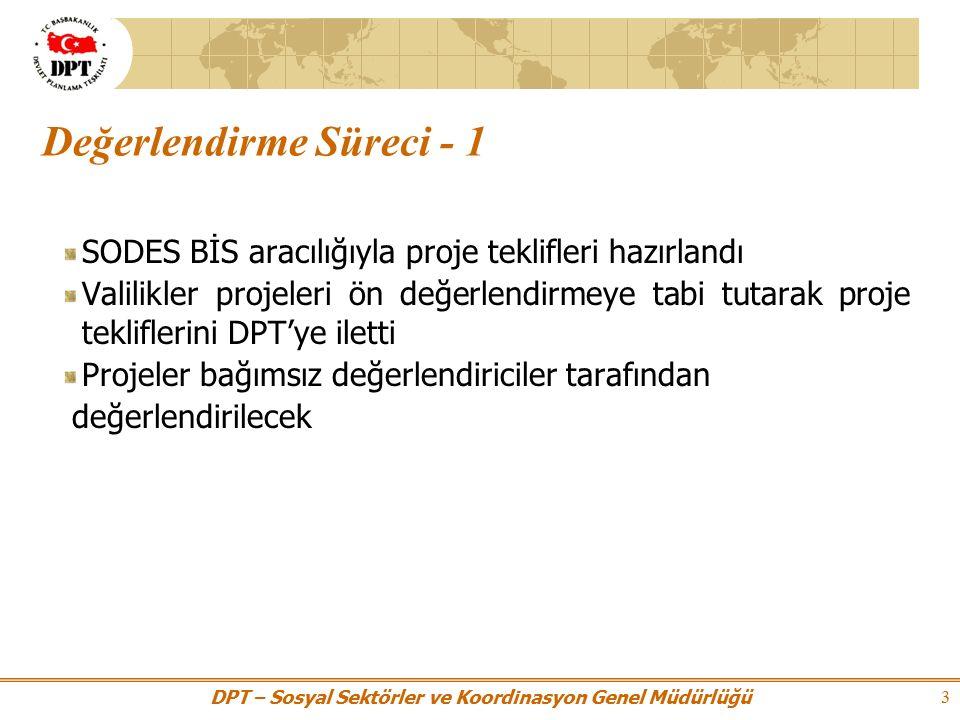 DPT – Sosyal Sektörler ve Koordinasyon Genel Müdürlüğü 3 Değerlendirme Süreci - 1 SODES BİS aracılığıyla proje teklifleri hazırlandı Valilikler projeleri ön değerlendirmeye tabi tutarak proje tekliflerini DPT'ye iletti Projeler bağımsız değerlendiriciler tarafından değerlendirilecek