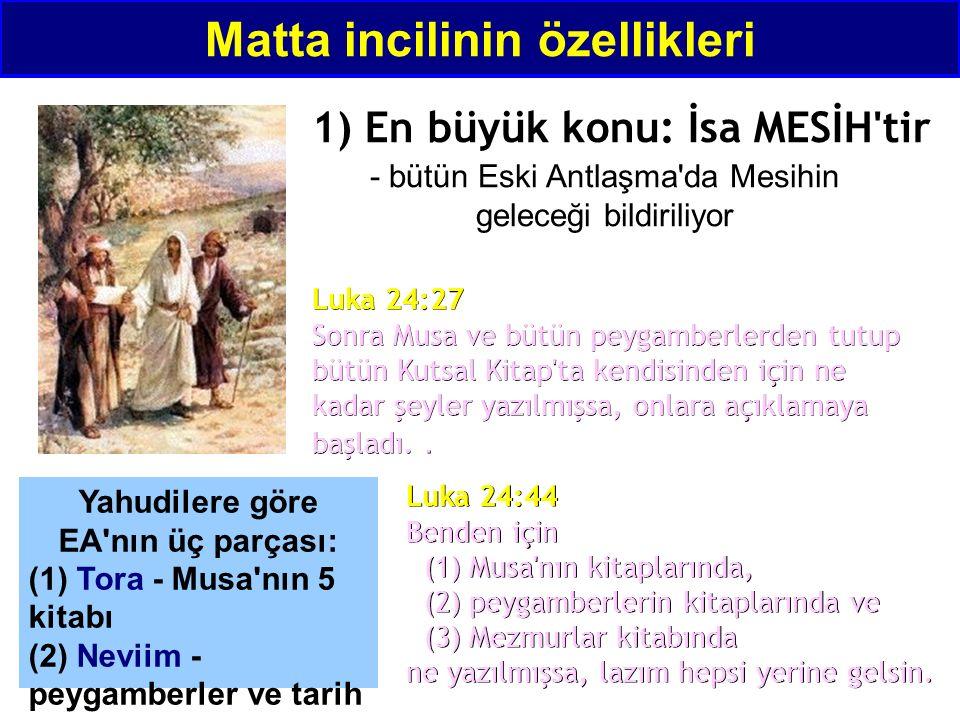 - bütün Eski Antlaşma'da Mesihin geleceği bildiriliyor Luka 24:27 Sonra Musa ve bütün peygamberlerden tutup bütün Kutsal Kitap'ta kendisinden için ne