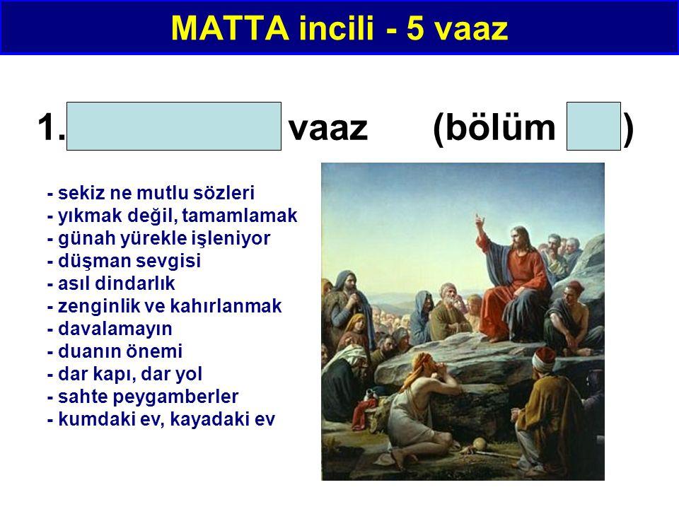 MATTA incili - 5 vaaz 1. Balkandaki vaaz (bölüm 5-7) - sekiz ne mutlu sözleri - yıkmak değil, tamamlamak - günah yürekle işleniyor - düşman sevgisi -