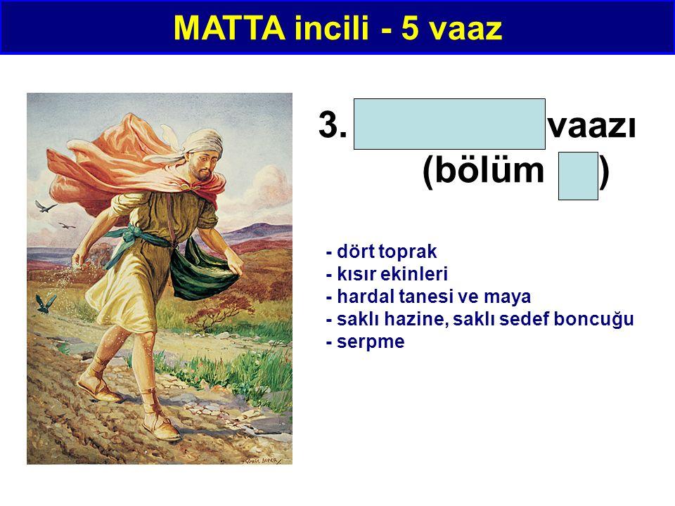3. Benzetme vaazı (bölüm 13) MATTA incili - 5 vaaz - dört toprak - kısır ekinleri - hardal tanesi ve maya - saklı hazine, saklı sedef boncuğu - serpme