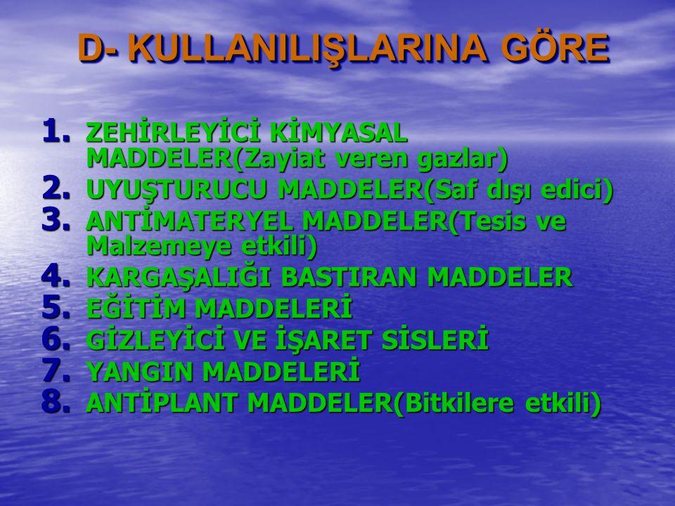 C- ARAZİDE KALMA ÖZELLİKLERİNE GÖRE I- UÇUCU GAZLAR II- KALICI GAZLAR