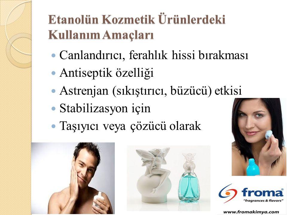 Etanolün Kozmetik Ürünlerdeki Kullanım Amaçları Canlandırıcı, ferahlık hissi bırakması Antiseptik özelliği Astrenjan (sıkıştırıcı, büzücü) etkisi Stabilizasyon için Taşıyıcı veya çözücü olarak