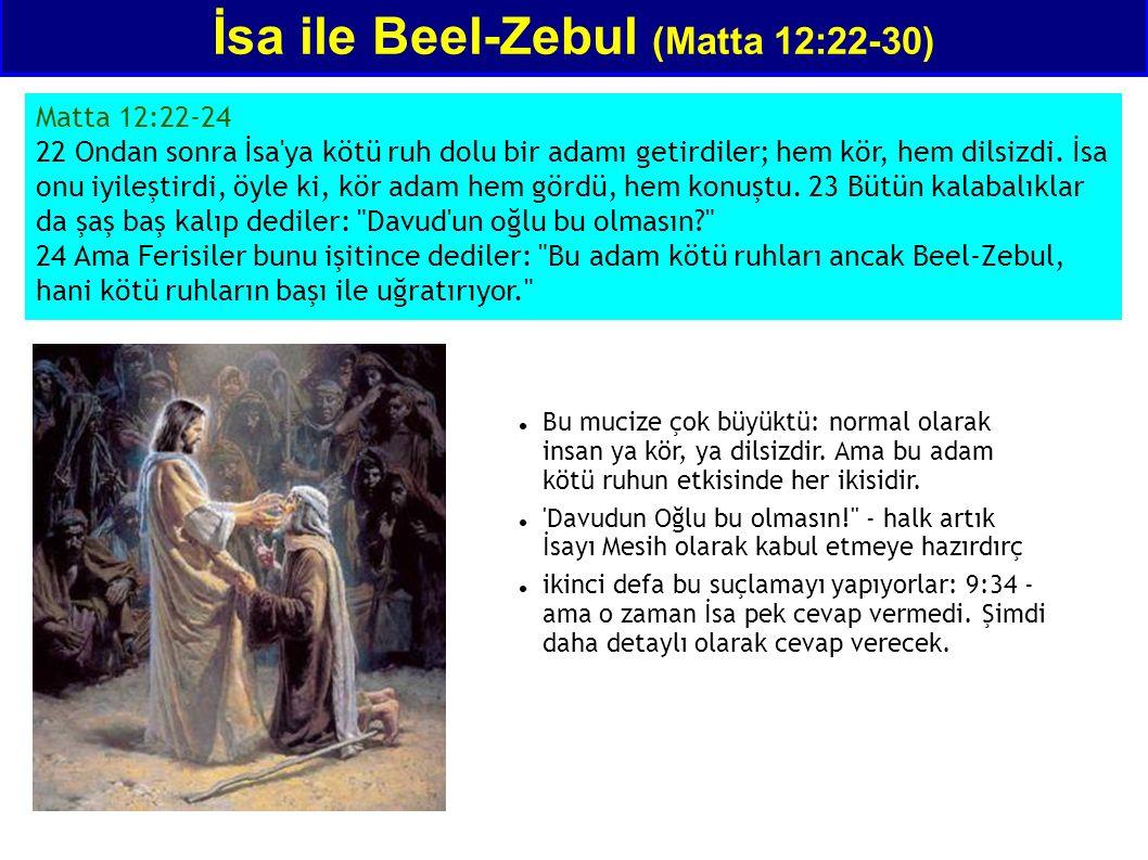 Matta 12:22-24 22 Ondan sonra İsa'ya kötü ruh dolu bir adamı getirdiler; hem kör, hem dilsizdi. İsa onu iyileştirdi, öyle ki, kör adam hem gördü, hem