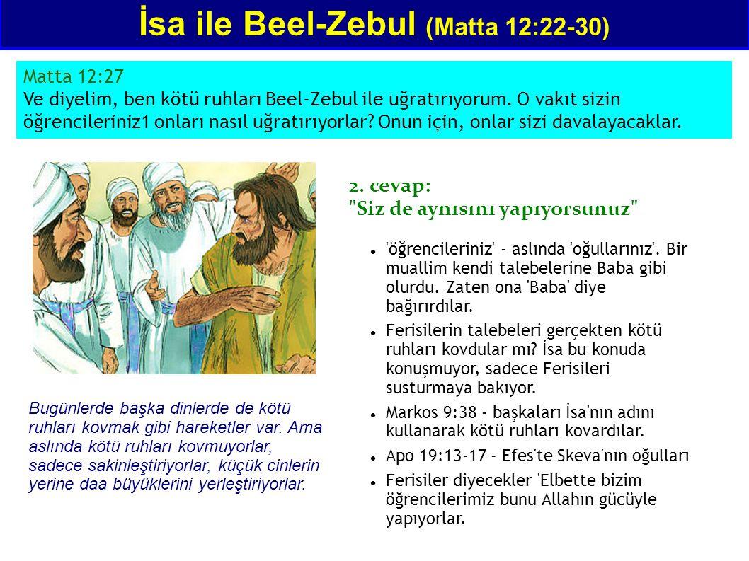 Matta 12:27 Ve diyelim, ben kötü ruhları Beel-Zebul ile uğratırıyorum. O vakıt sizin öğrencileriniz1 onları nasıl uğratırıyorlar? Onun için, onlar siz