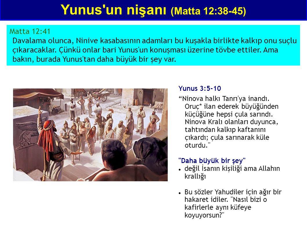 Matta 12:41 Davalama olunca, Ninive kasabasının adamları bu kuşakla birlikte kalkıp onu suçlu çıkaracaklar. Çünkü onlar bari Yunus'un konuşması üzerin