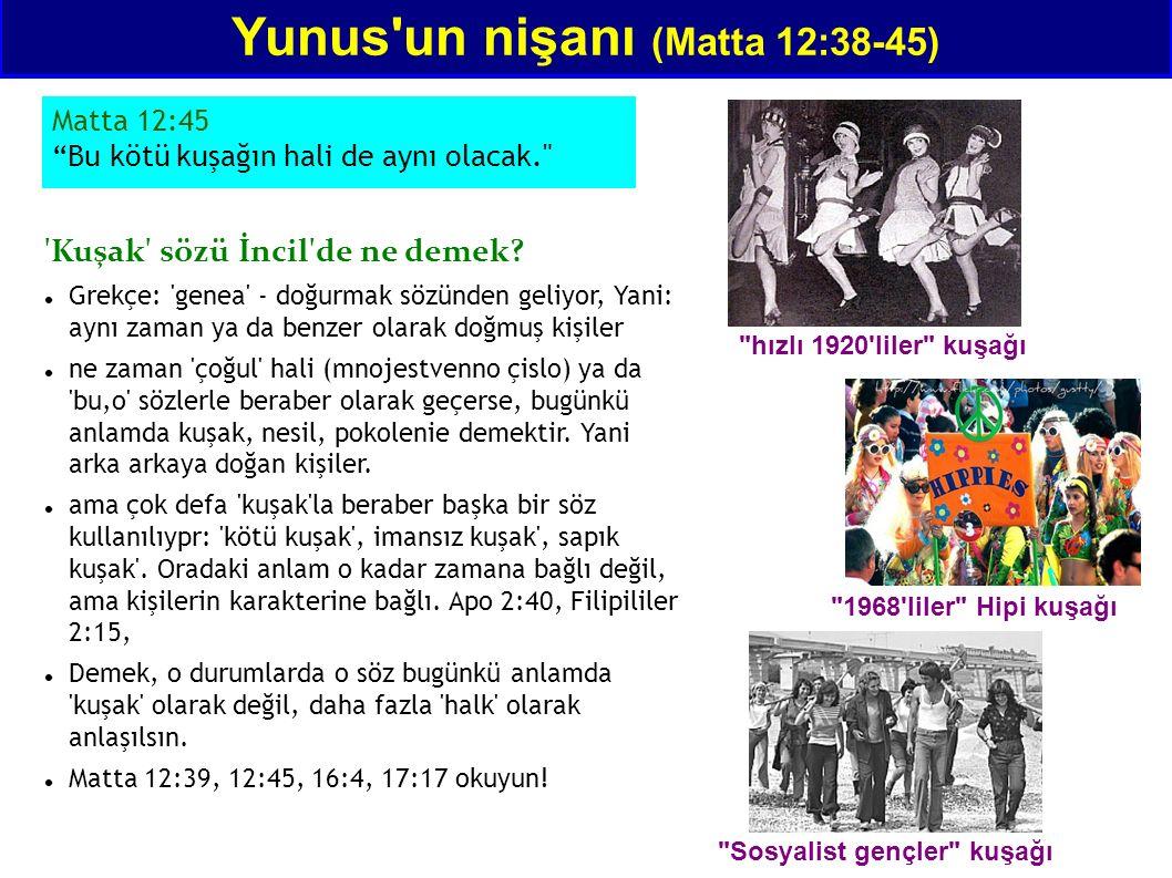Yunus'un nişanı (Matta 12:38-45) 'Kuşak' sözü İncil'de ne demek? Grekçe: 'genea' - doğurmak sözünden geliyor, Yani: aynı zaman ya da benzer olarak doğ